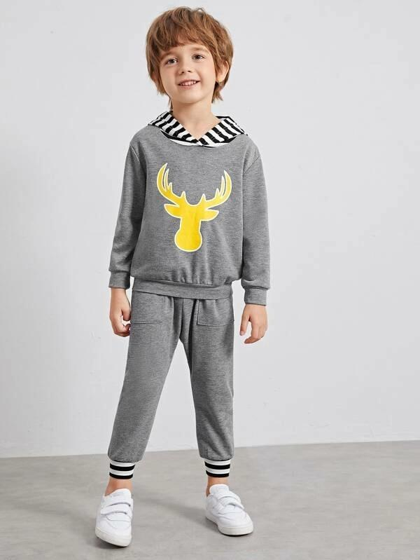 Toddler Boys Deer Print Contrast Hooded Sweatshirt With Sweatpants