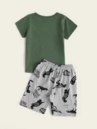 Toddler Boys Dinosaur Print Pajama Set