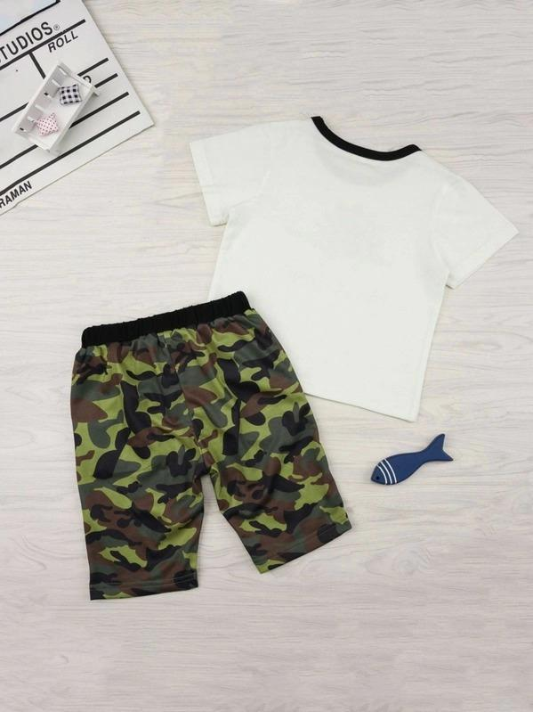Toddler Boys Dinosaur Print Tee With Camo Shorts