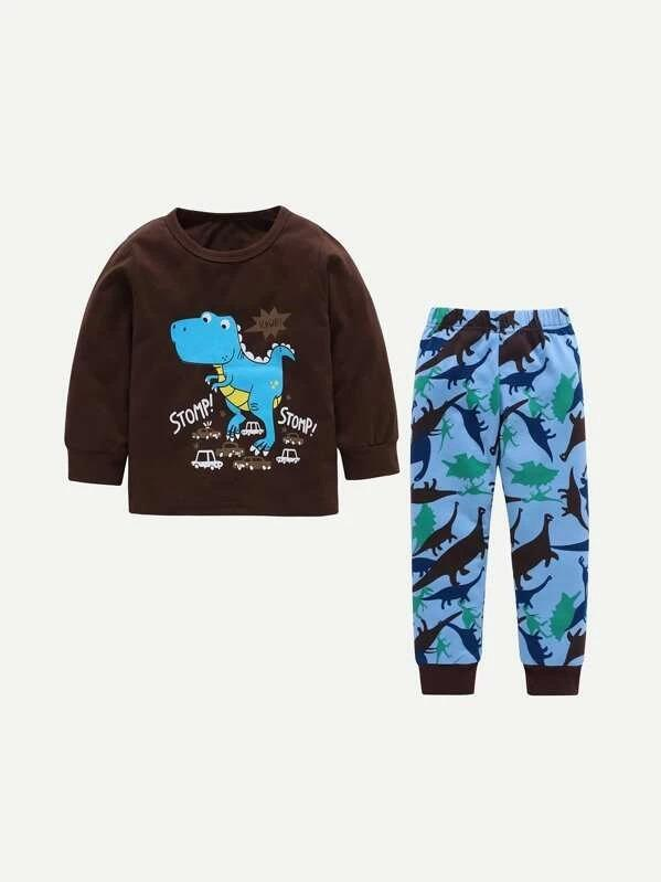 Toddler Boys Dinosaur & Letter Graphic Top With Pants
