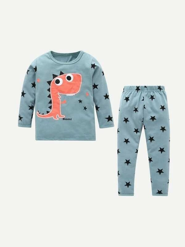Toddler Boys Dinosaur & Star Print Tee With Pants