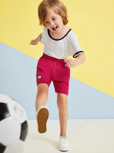 Toddler Boys Elastic Waist Cut And Sew Patched Shorts