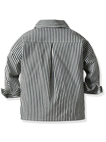 Toddler Boys Flap Pockets Popper Through Striped Coat