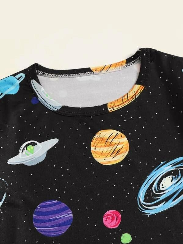 Toddler Boys Galaxy Print Pajama Set