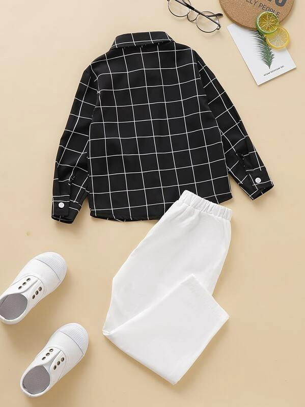 Toddler Boys Grid Plaid Bow Shirt With Pants