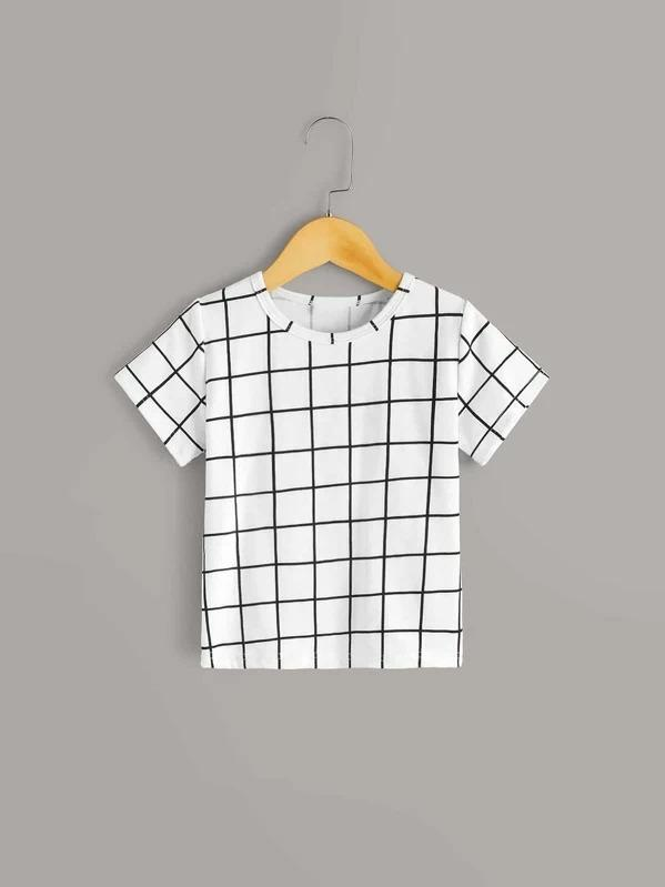 Toddler Boys Grid Plaid Print Tee