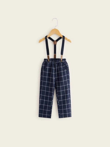 Toddler Boys Grid Plaid Straight Pants With Straps