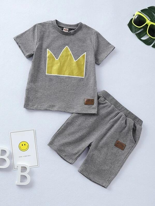 Toddler Boys Imperial Crown Print Patched Tee With Shorts