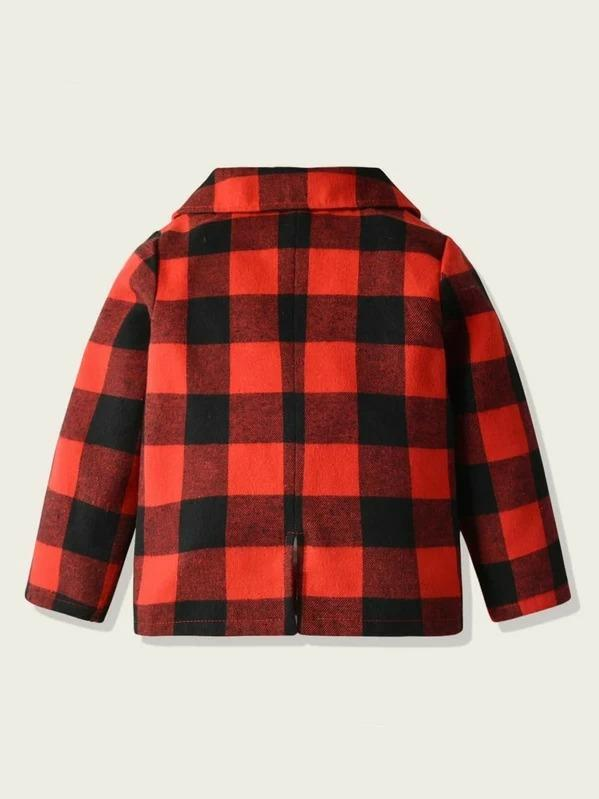 Toddler Boys Lapel Collar Buffalo Plaid Blazer