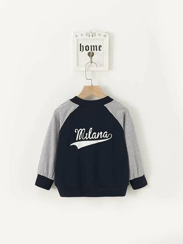 Toddler Boys Letter Graphic Contrast Sleeve Baseball Jacket