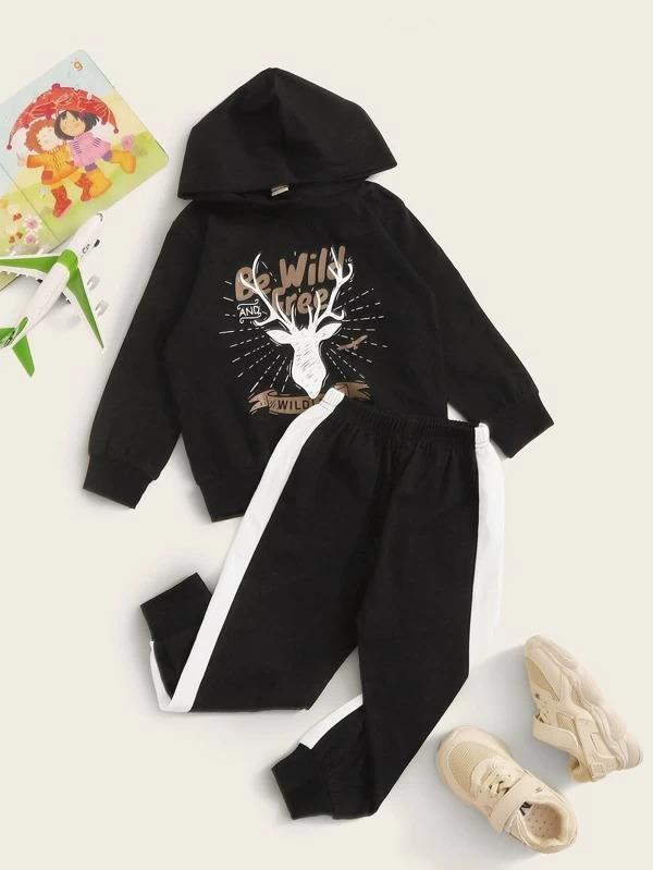 Toddler Boys Letter Graphic Hoodie With Contrast Side Sweatpants