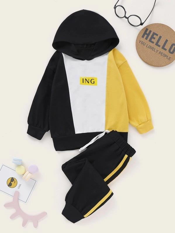 Toddler Boys Letter Graphic Hoodie & Striped Pants