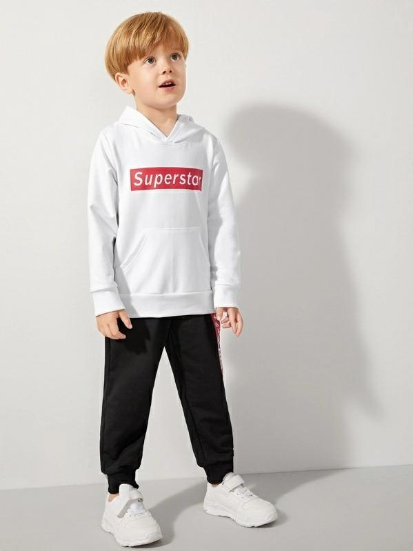 Toddler Boys Letter Graphic Kangaroo Pocket Hoodie & Sweatpants
