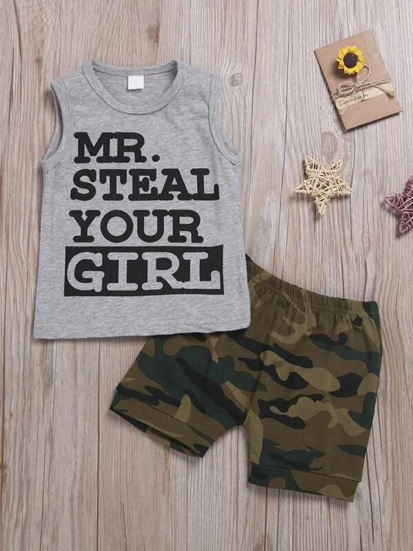 Toddler Boys Letter Graphic Tank Top & Camo Shorts