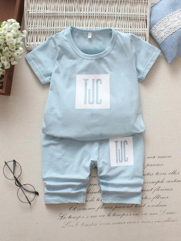 Toddler Boys Letter Graphic Tee With Pants