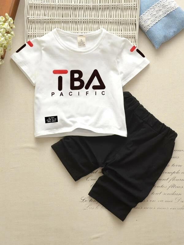 Toddler Boys Letter Graphic Tee With Shorts
