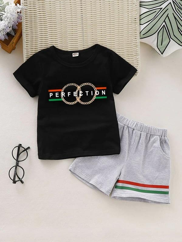 Toddler Boys Letter Graphic Tee With Striped Shorts