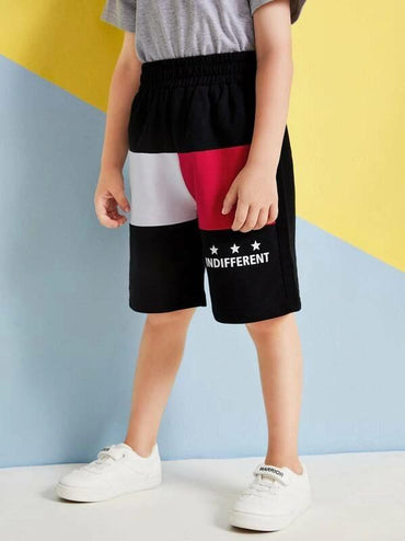 Toddler Boys Letter Print Contrast Panel Shorts