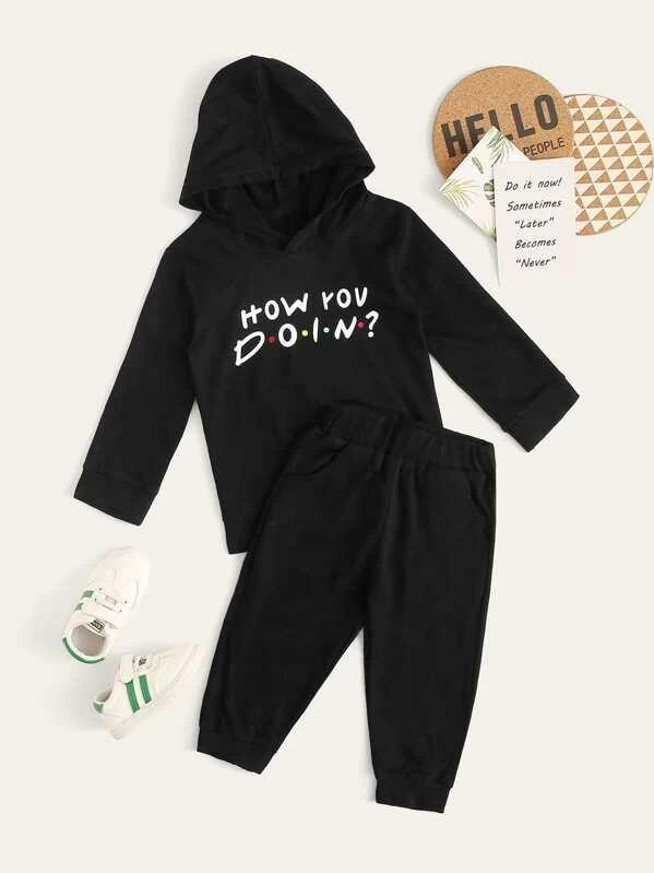 Toddler Boys Letter Print Hoodie With Sweatpants