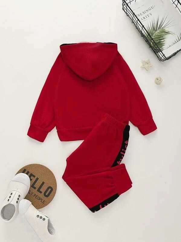 Toddler Boys Letter Print Raglan Sleeve Hoodie With Sweatpants