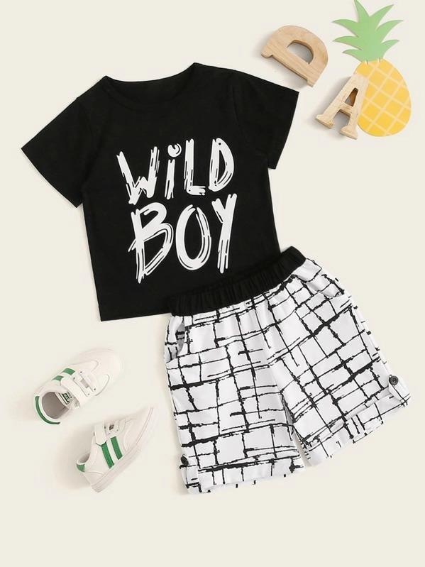 Toddler Boys Letter Print Tee With Plaid Print Shorts
