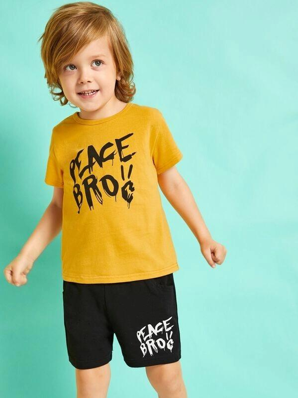 Toddler Boys Letter Print Tee With Shorts