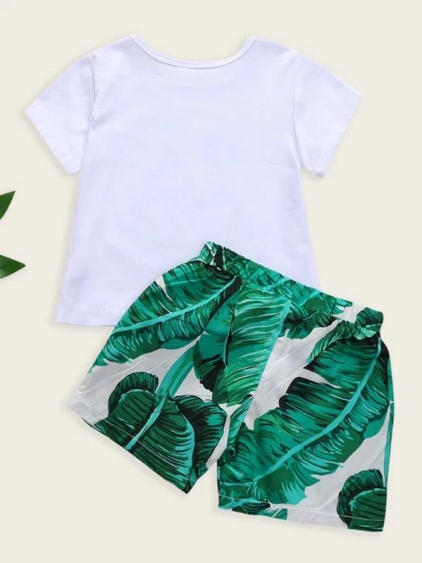Toddler Boys Letter Print Tee With Tropical Print Shorts