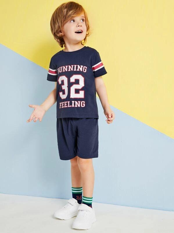 Toddler Boys Letter Print Tee & Shorts