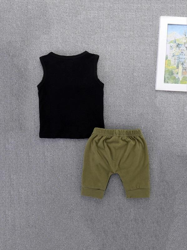 Toddler Boys Letter Print Top & Shorts