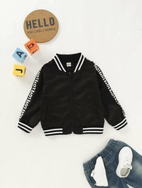 Toddler Boys Letter Tape Bomber Jacket