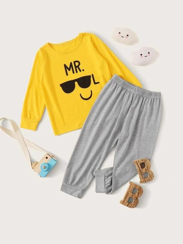 Toddler Boys Letter & Glasses Print PJ Set