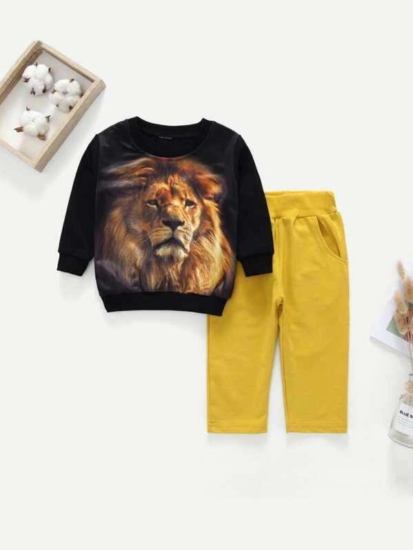 Toddler Boys Lion Print Sweatshirt With Pants