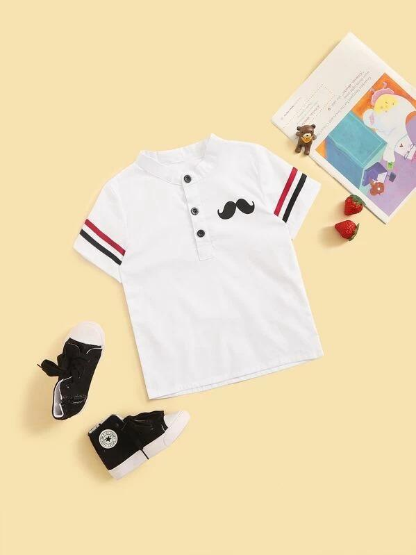 Toddler Boys Moustache Print Button Front Striped Tee