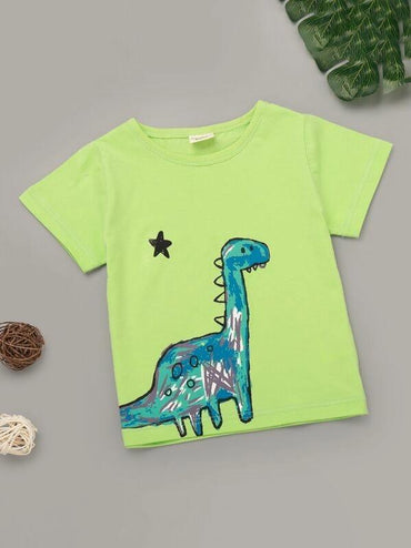 Toddler Boys Neon Lime Cartoon Graphic Tee