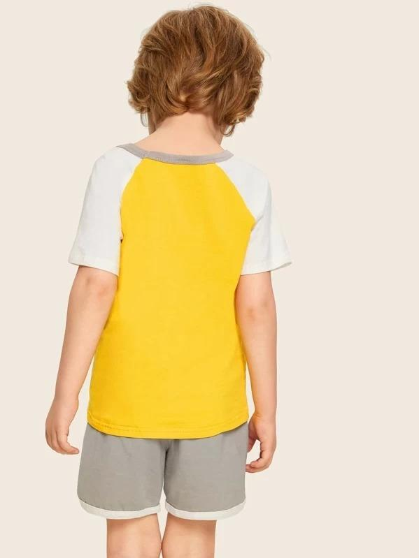 Toddler Boys Number Print Raglan Sleeve Tee With Track Shorts