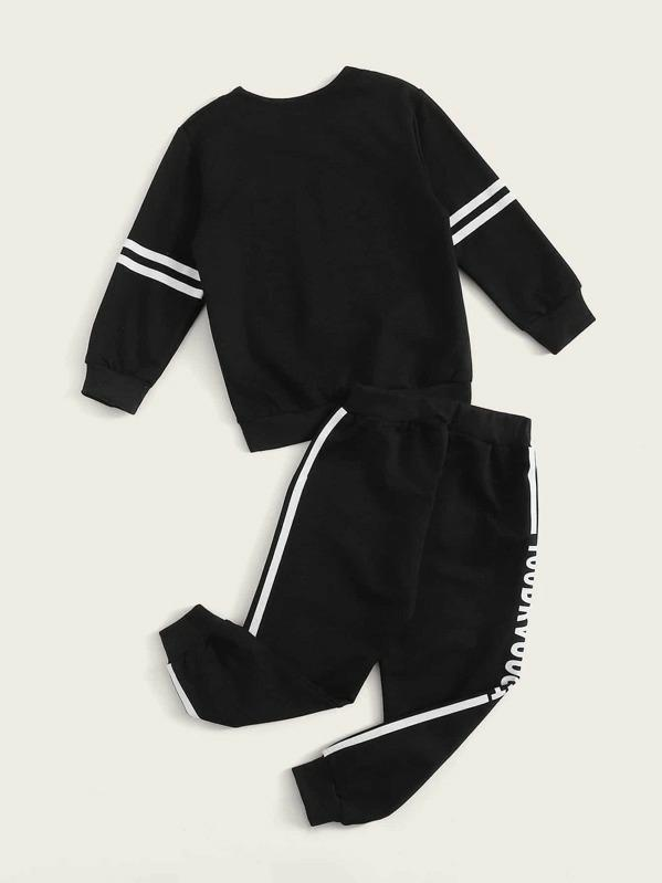 Toddler Boys Number Print Striped Tape Sweatshirt With Sweatpants