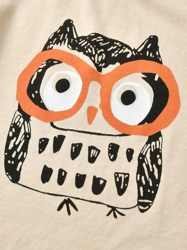 Toddler Boys Owl Print Tee With Shorts