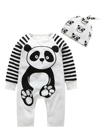 Toddler Boys Panda Graphic Contrast Striped Sleeve Jumpsuit With Hat