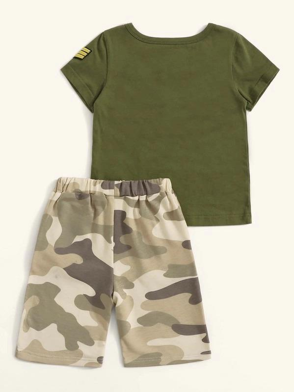 Toddler Boys Patched Tee With Camo Print Pants