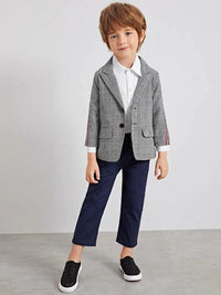 Toddler Boys Plaid Lapel Striped Side Blazer
