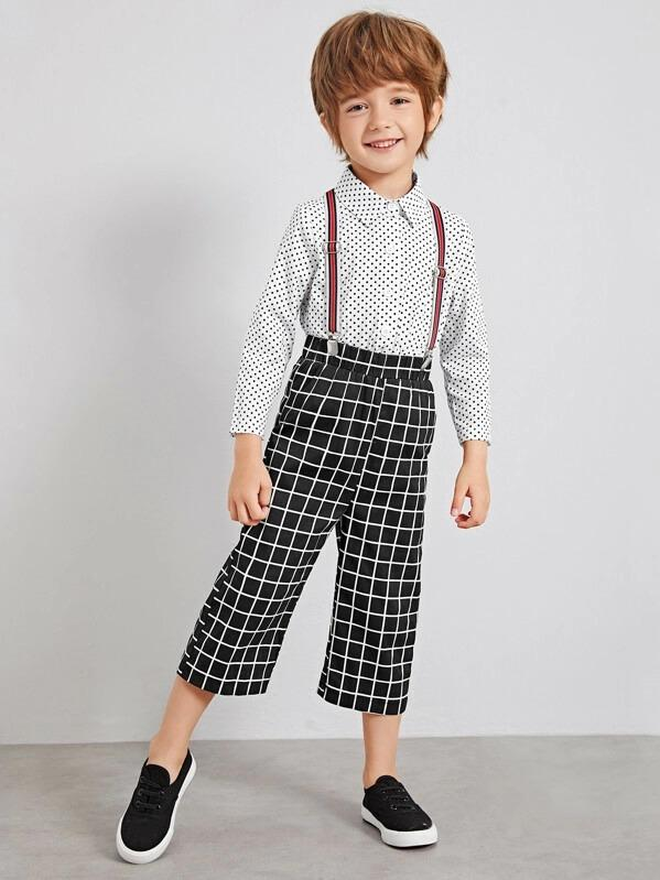 Toddler Boys Polka Dot Shirt With Plaid Straps Pants