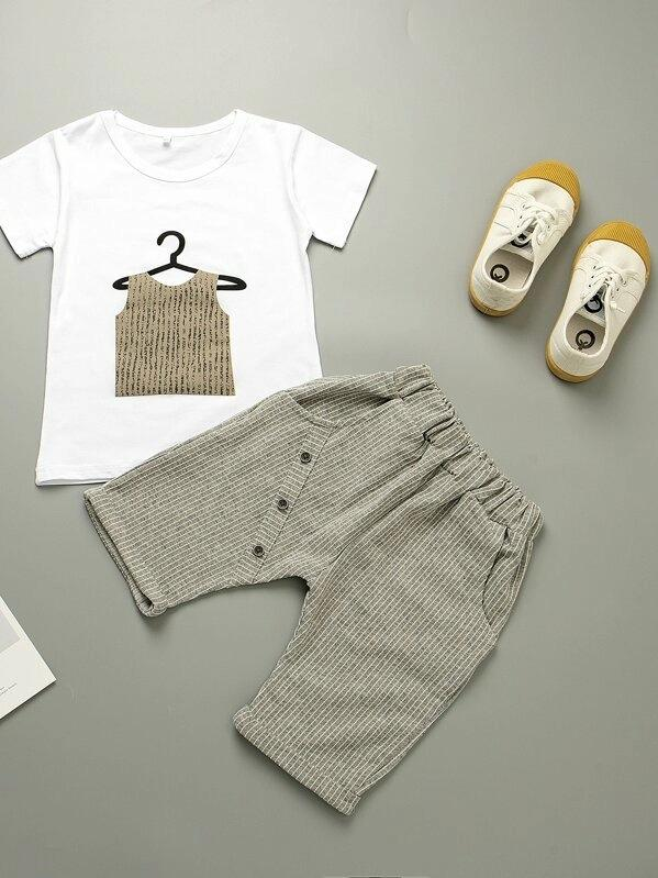 Toddler Boys Printed Tee With Striped Pants