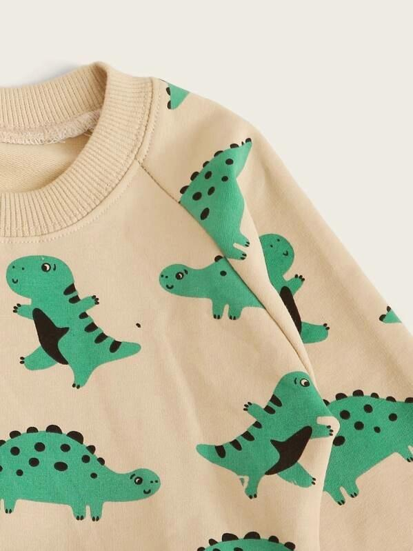 Toddler Boys Raglan Sleeve Dinosaur Print Sweatshirt With Sweatpants