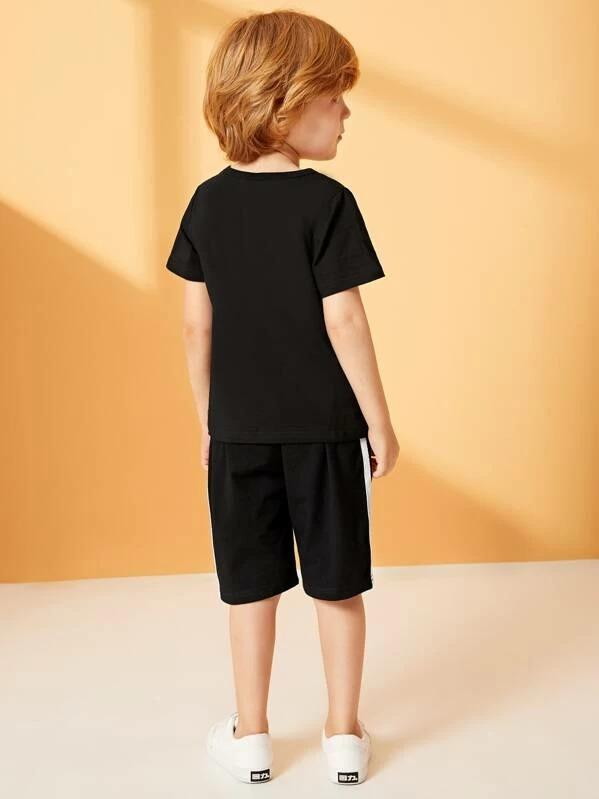 Toddler Boys Rocket Print Tee With Side Stripe Shorts