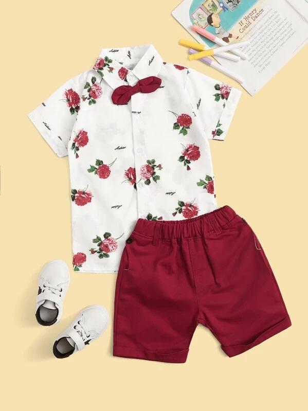 Toddler Boys Rose Print Curved Hem Bow Shirts With Shorts