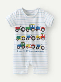 Toddler Boys Sentence And Agricultural Vehicles Print Jumpsuit