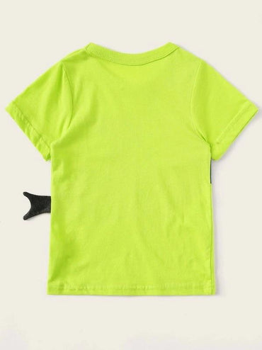 Toddler Boys Shark Print Neon Tee