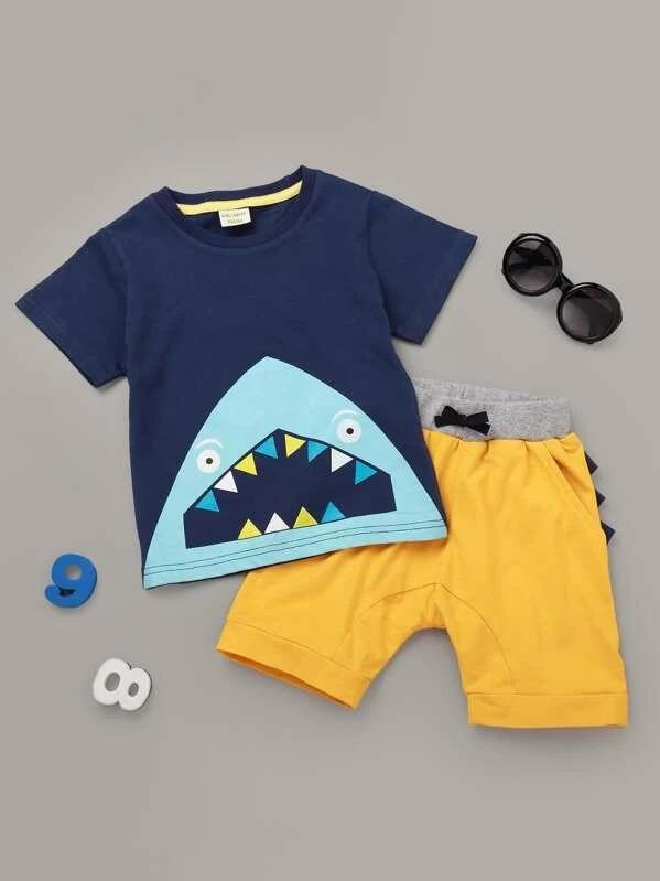Toddler Boys Shark Print Tee With Shorts