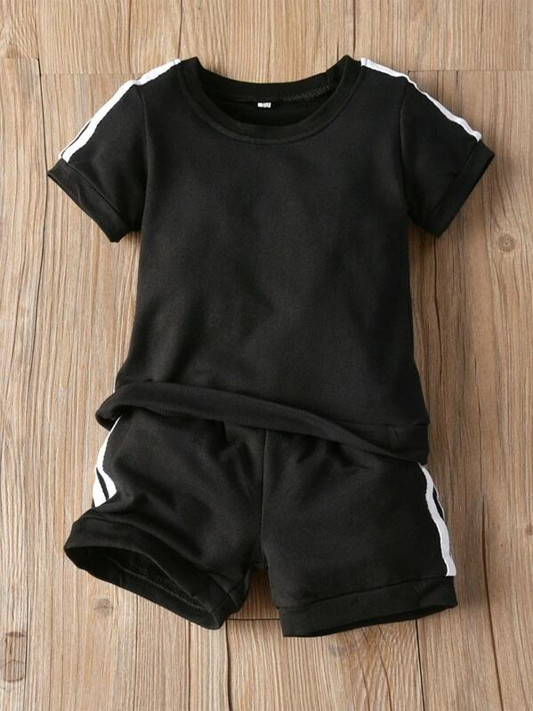 Toddler Boys Side Stripe Tape Tee With Track Shorts