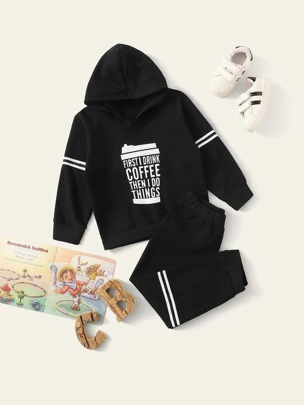 Toddler Boys Slogan Graphic Hooded With Joggers